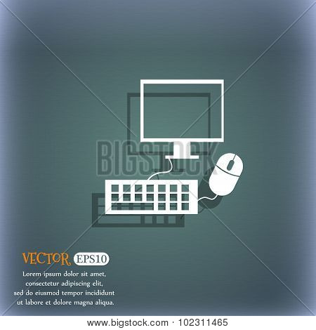 Computer Widescreen Monitor, Keyboard, Mouse Sign Icon. On The Blue-green Abstract Background With S