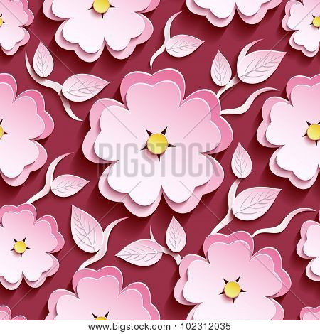 Pink Seamless Pattern With 3D Sakura And Leaves