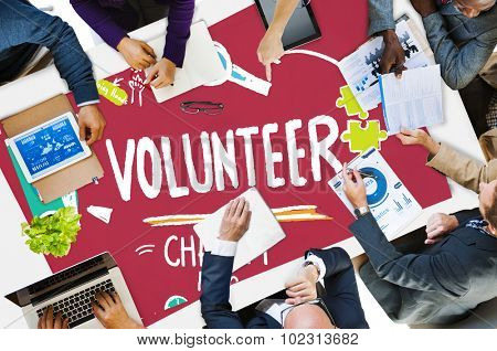 Volunteer Charity Help Sharing Giving Donate Assisting Concept