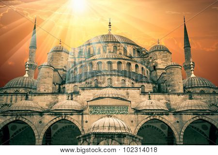 Fantastic view of Blue Mosque with sun and amazing sunbeams, Istanbul, Turkey