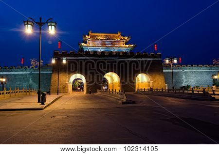 City Wall Gate At Night In Qufu, China