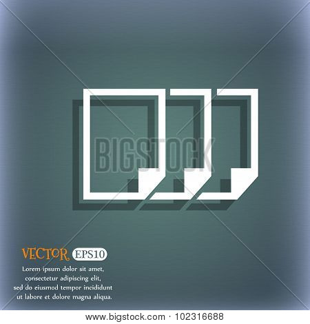 Copy File Sign Icon. Duplicate Document Symbol. On The Blue-green Abstract Background With Shadow An