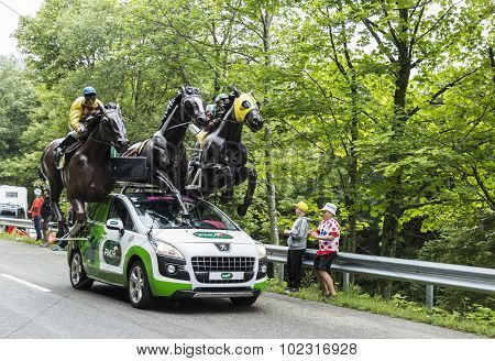 Pmu (le Pari Mutuel Urbain) Vehicle In Vosges Mountains - Tour De France 2014