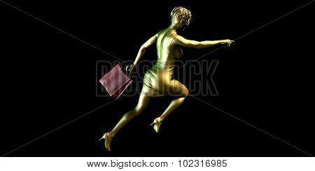 Woman Shopper Running for a Sales Event