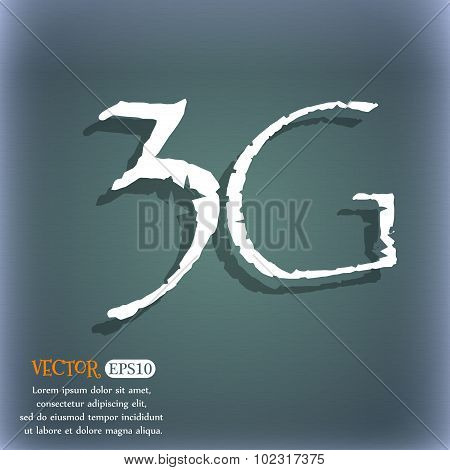 3G Sign Icon. Mobile Telecommunications Technology Symbol. On The Blue-green Abstract Background Wit