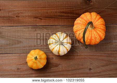 Decorative pumpkins and gourds still life on a rustic dark wood background. The three gourds are at an angle leaving copy space at the top and bottom.