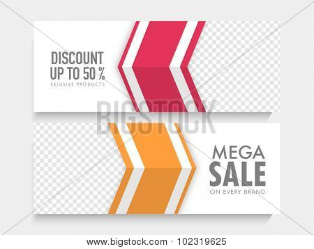 Mega Sale website header or banner set with 50% discount offer on exclusive products.