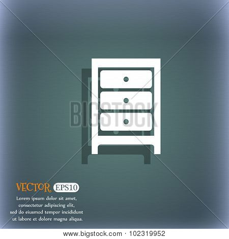 Cupboard Icon Sign. On The Blue-green Abstract Background With Shadow And Space For Your Text. Vecto