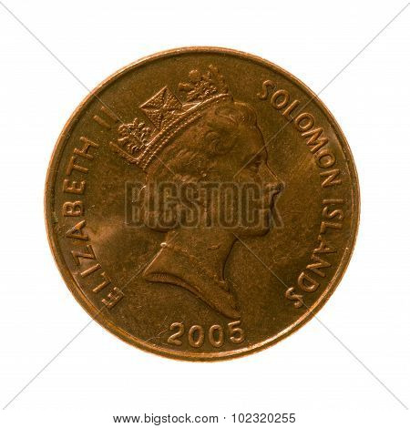 Coin Two Cents Solomon Islands Isolated On A White Background. Top View