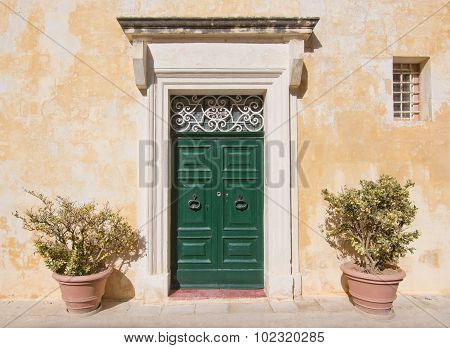 Green Wooden Door