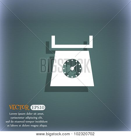 Kitchen Scales Icon Sign. On The Blue-green Abstract Background With Shadow And Space For Your Text.