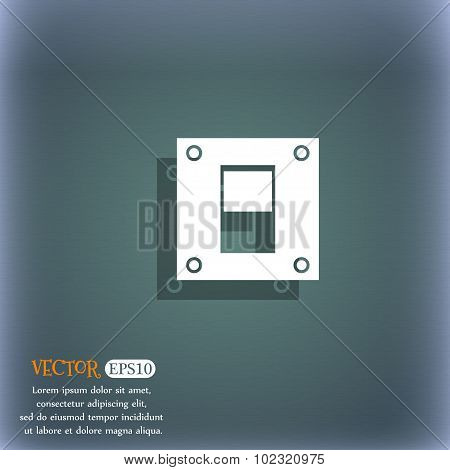 Power Switch Icon Sign. On The Blue-green Abstract Background With Shadow And Space For Your Text. V