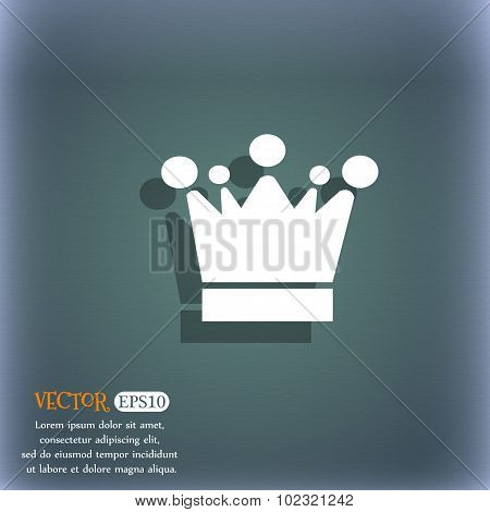 Crown Icon Sign. On The Blue-green Abstract Background With Shadow And Space For Your Text. Vector