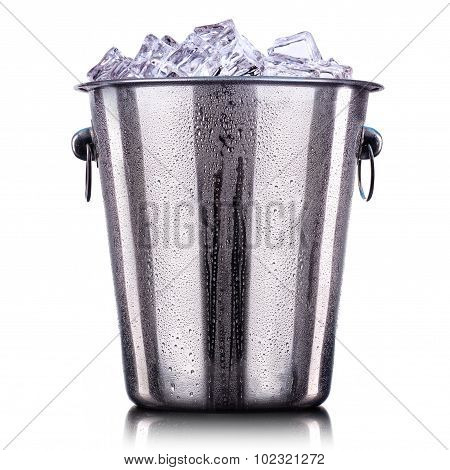 Champagne Metal ice bucket isolated on a white