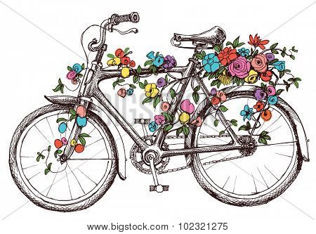 Bike with flowers, design element for wedding invitations or bridal shower
