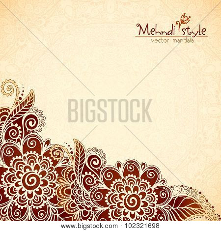 Floral vintage ethnic background in Indian mehndi style