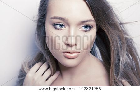 Woman face with clean fresh skin