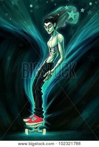 Skater in the night. Digital raster illustration