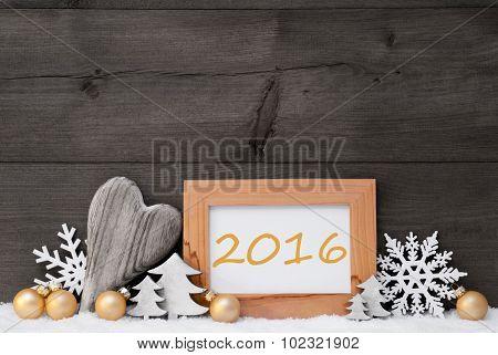 Golden Gray Christmas Decoration, Snow, 2016