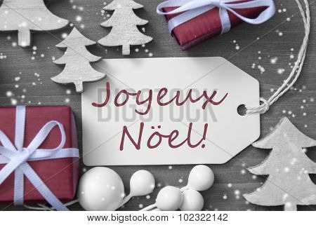 Label Gift Tree Snowflakes Joyeux Noel Means Merry Christmas