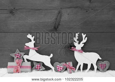 Gray Christmas Decoration, Reindeer Couple In Love