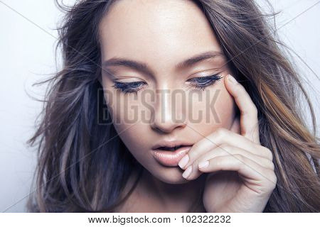 Woman face with makeup and clean skin