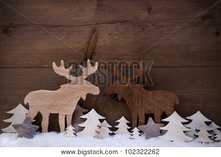 Christmas Decoration, Moose Couple In Love, Snow, Tree