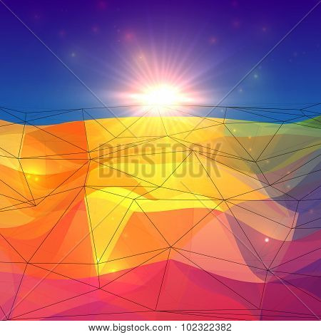 Abstract triangles polygonal surface with sunlight on horizon
