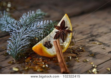 Christmas Food Decoration, Orange, Cinnamon, Glitter, Fir Branch