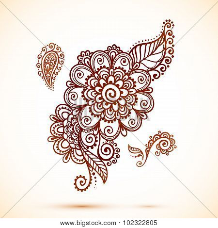 Vintage element in Indian mehndi style