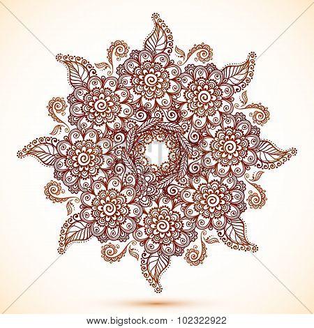 Vintage isolated mandala in Indian mehndi style