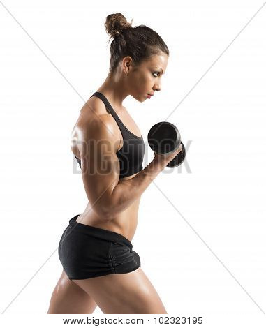 Woman training biceps