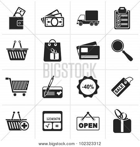 Black Shopping and website icons