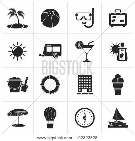 Black Vacation and holiday icons