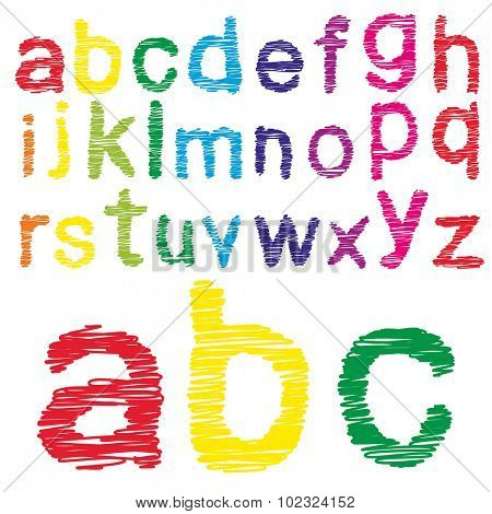 Concept or conceptual set or collection of colorful handwritten, sketch or scribble font isolated on white background
