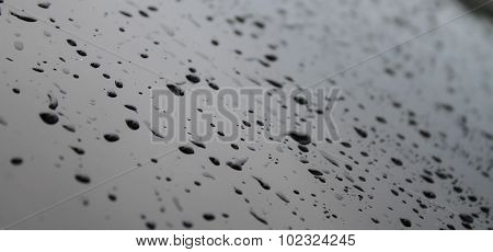 Drops on glass surface after water protection repellent coating