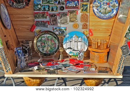 Various Souvenirs With Images Of Landmarks Of Veliky Novgorod, Russia