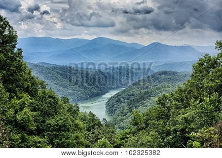 Beautiful Aerial Scenery Over Lake Fontana In Great Smoky Mountains