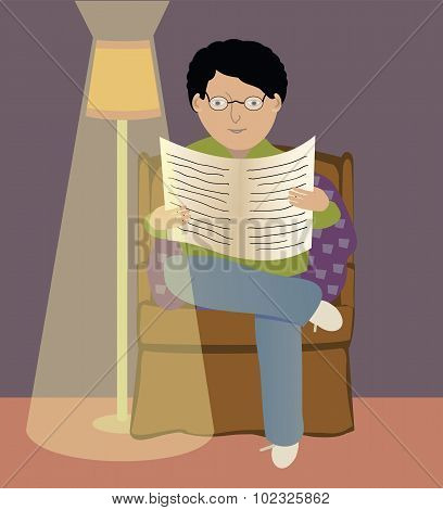 Man Reading A Newspaper.eps