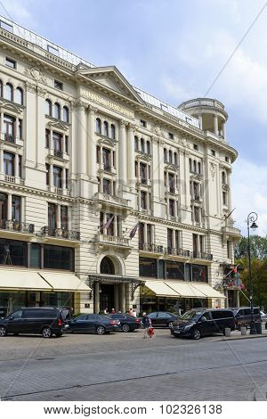 WARSAW, POLAND - SEPTEMBER 16, 2015: The luxurious five-star hotel Bristol existing since 1901 at the famous Krakowskie Przedmiescie street on 16 September 2015 in Warsaw, Poland.