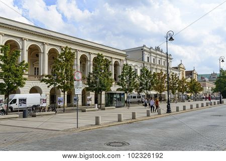 WARSAW, POLAND - SEPTEMBER 16, 2015: Central Agricultural Library at Krakowskie Przedmiescie Street on 16 September 2015 in Warsaw, Poland.