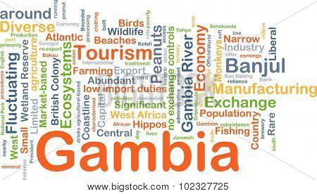 Background concept wordcloud illustration of Gambia