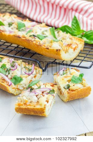 Barbecue Chicken Pizza Baguette, Selective Focus
