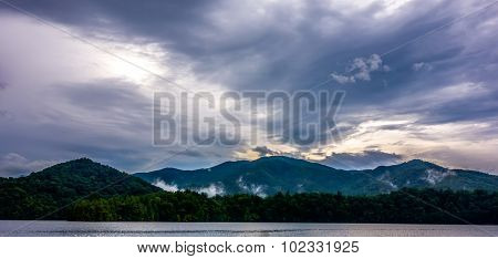 Panoramic Landscapes And Beautiful Nature At Lake Santeetlah North Carolina