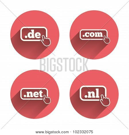 Top-level domains signs. De, Com, Net and Nl.