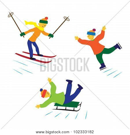 Children With Ice Skates, Skis And Sledges.