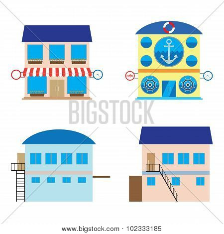 Facade Of Shop, Sea Food Store And Warehouses.