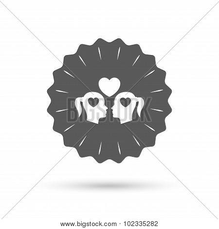 Lesbian couple sign icon. Woman love woman.