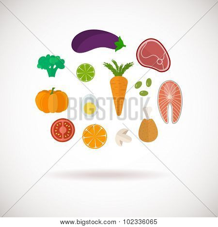 Vector color healthy food icons set. Food sign. Healthy lifestyle illustration in flat style. Meat, fish, vegetables and fruit icons