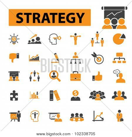strategy, management, business presentation icons